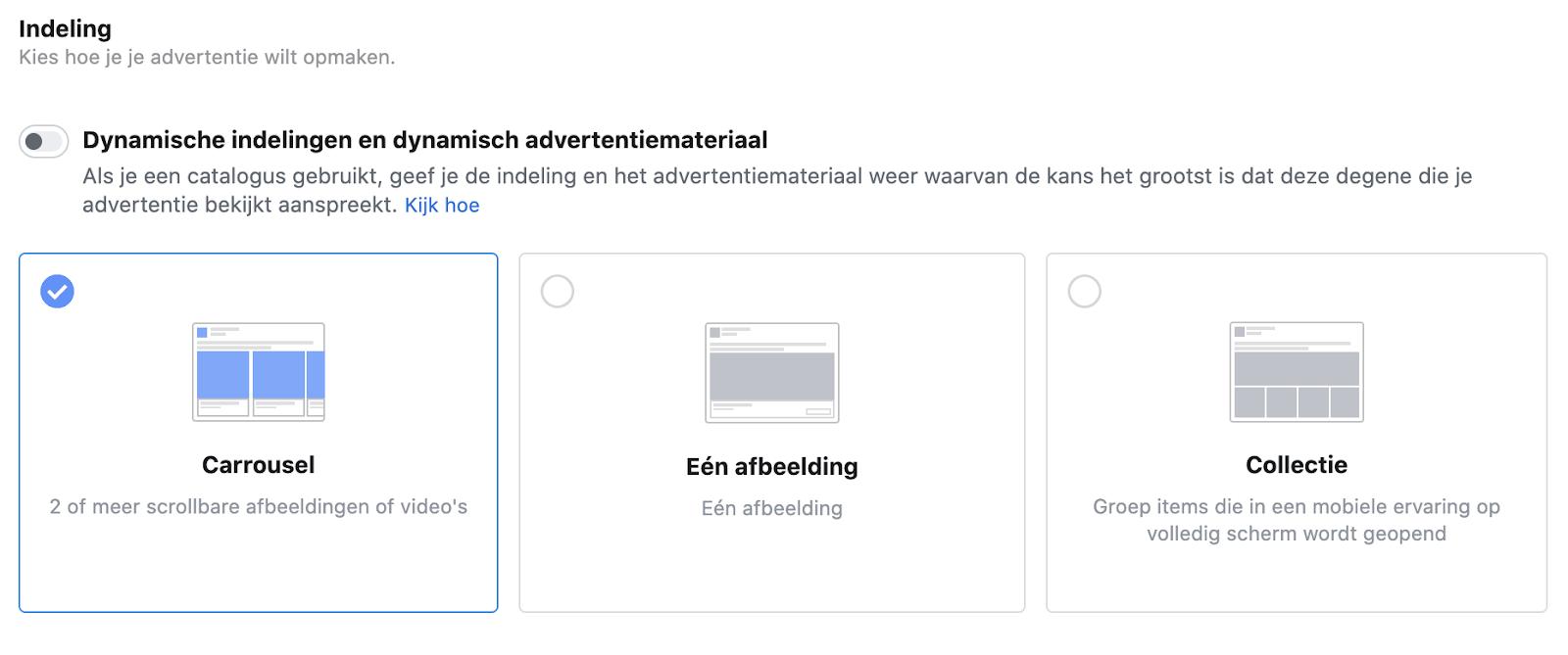 advertentie-indeling facebook ads