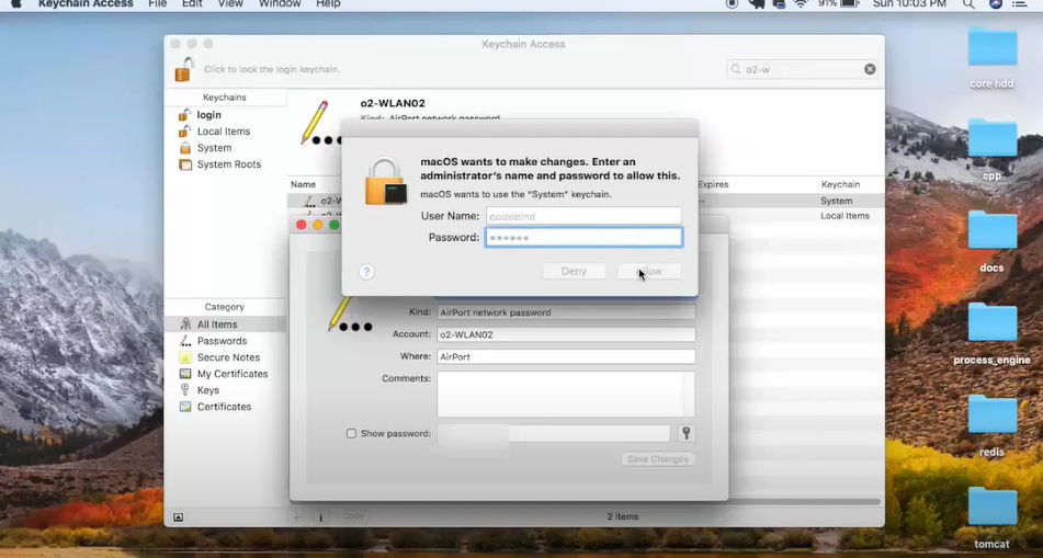 You will be asked to provide your Mac password. Type in your Mac password and that will give you the security key.