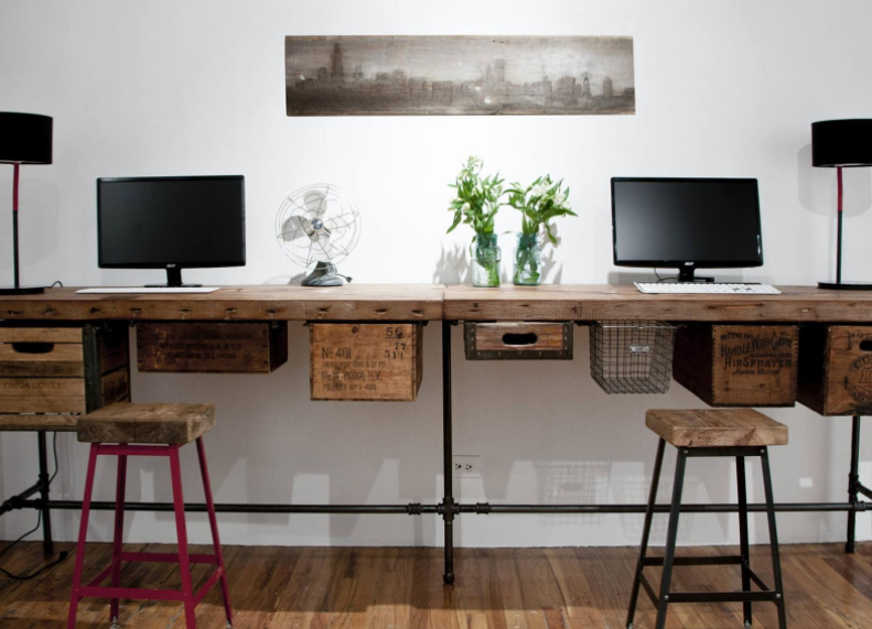 reclaimed wood desk for work from home office