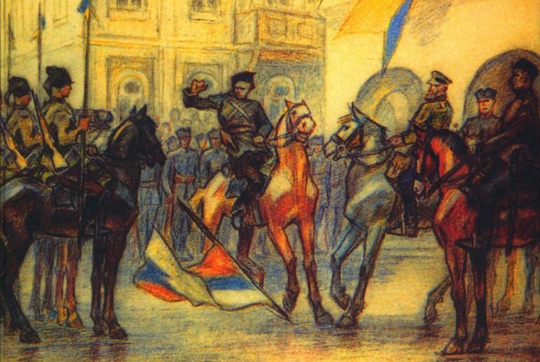 Події 31 серпня 1919 року на Думській площі (нині Майдан Незалежності). Малюнок Леоніда Перфецького