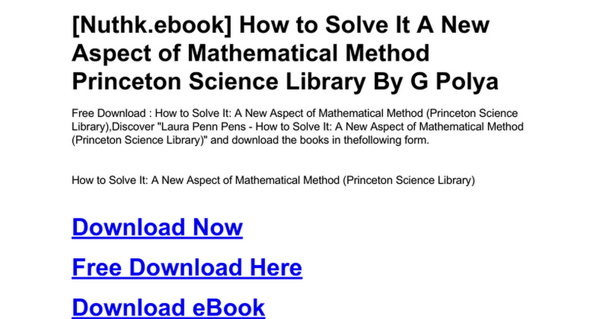 how to solve it polya ebook