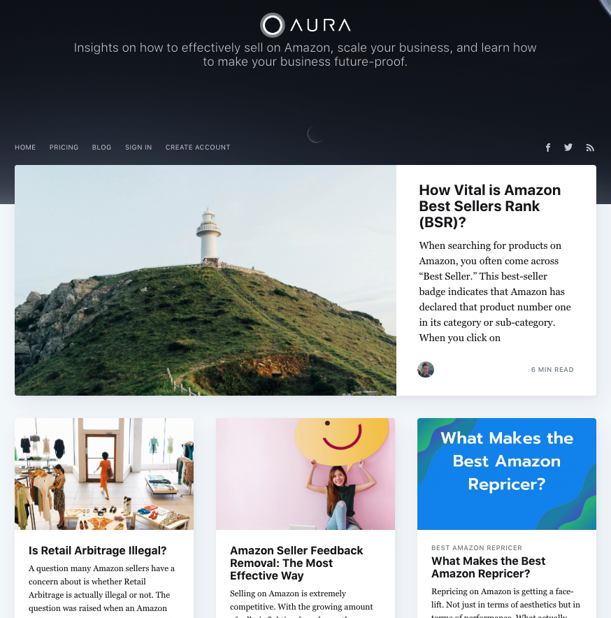 blog section of the Aura website