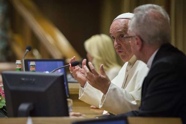 Pope Francis speaks at a workshop on climate change in Rome, June 21, 2015. Credit: L'Osservatore Romano.