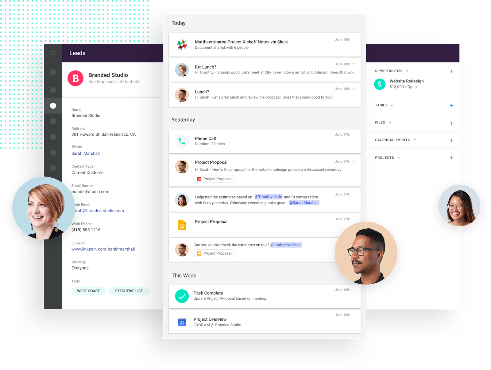 copper CRM lets multiple teammates collaborate on customer relationships.