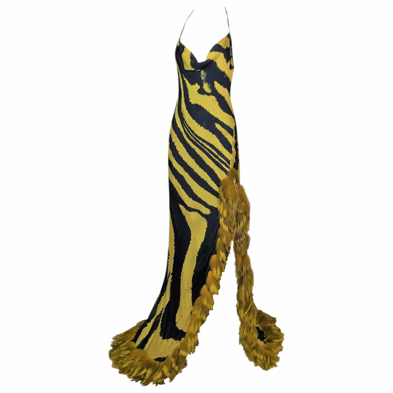 F/W 2000 Roberto Cavalli Runway Aaliyah Yellow Black Zebra Gown Dress