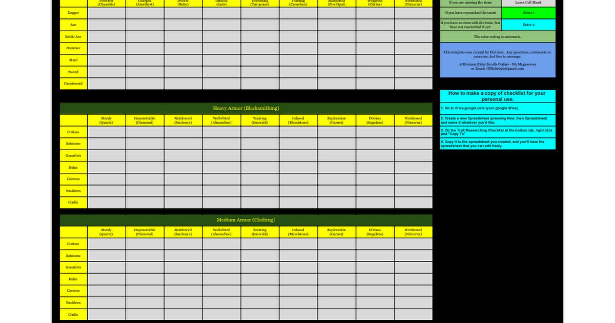 Trait Researching Checklist Elder Scrolls Online Google Sheets - Google spreadsheet checklist