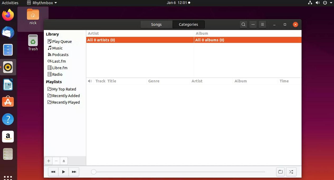 trình nghe nhạc rhythmbox trong ubuntu