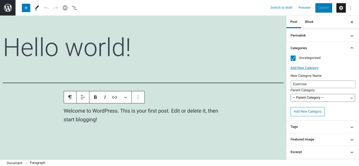 Screenshot of how to name and save a new category in WordPress