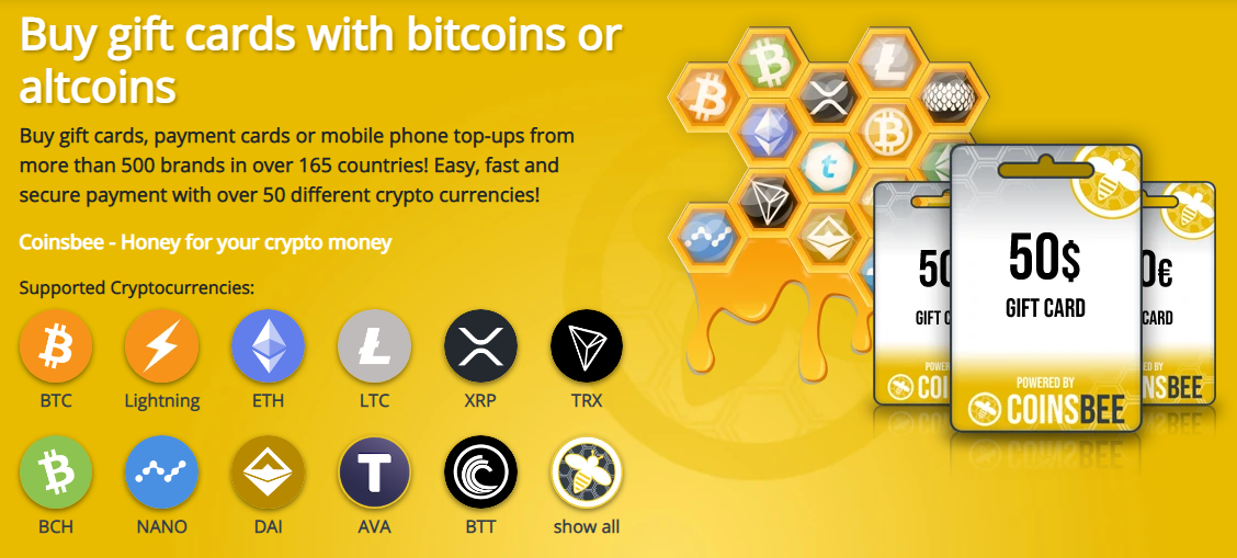 Buy and sell gift cards for over 30 cryptocurrency options (Image: Coinsbee)