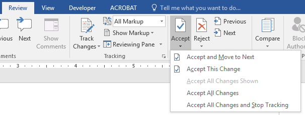 Accept or reject changes with Track Changes in Microsoft Word
