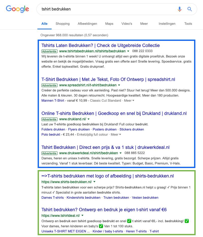Voorbeeld SEO zoekmachine optimalisatie via Google