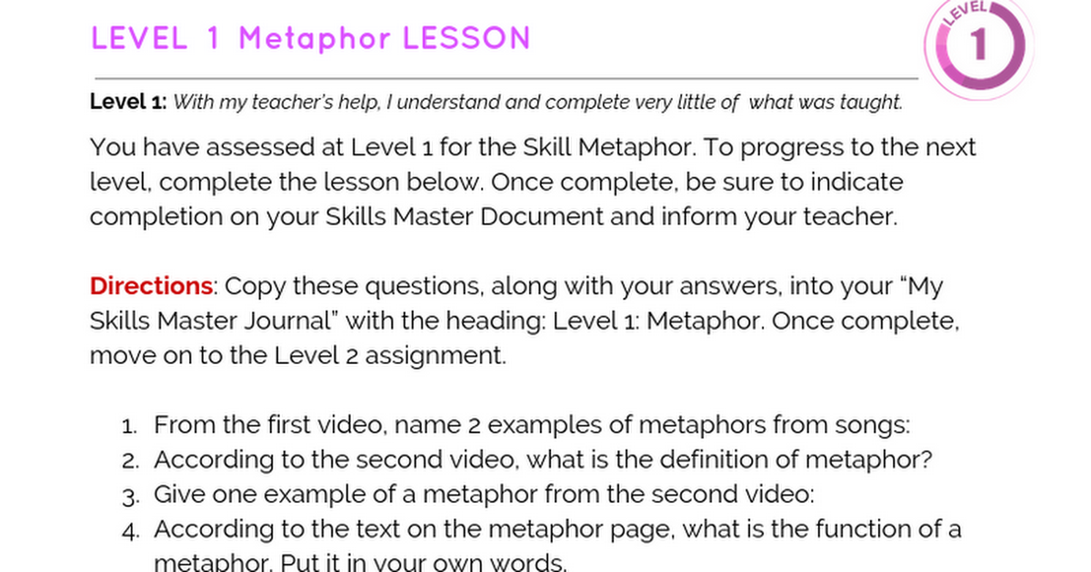 Metaphor Level 1 Google Docs