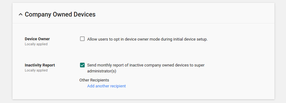 Company-owned devices in Admin console screenshot
