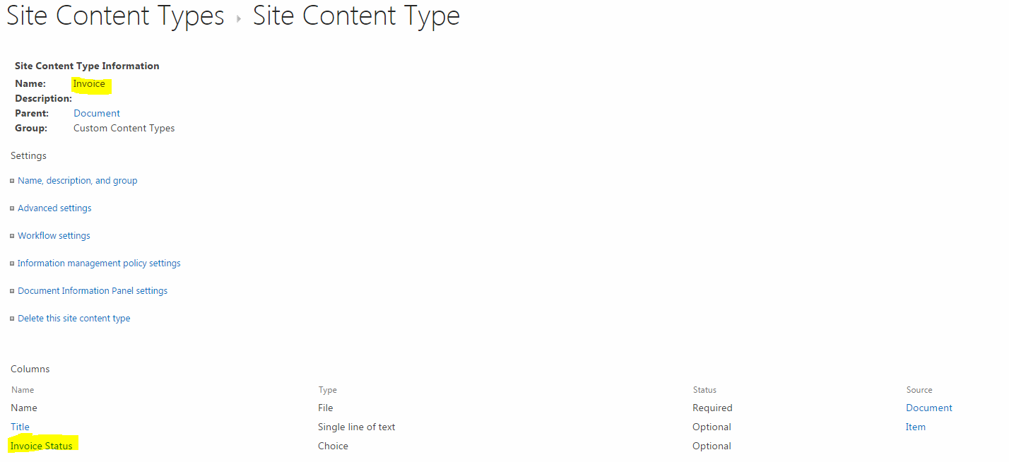 Create New Site Content Type