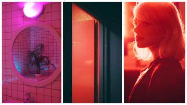 fotos neon com papel celofane