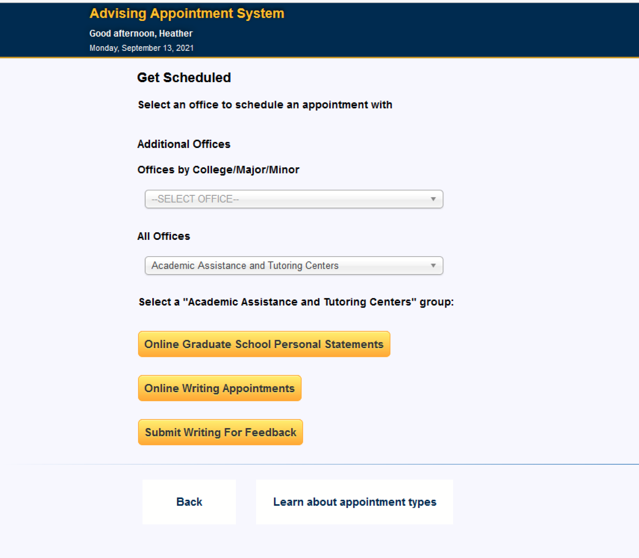 Appointment System Drop-Down Menu Screen