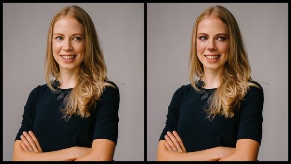 Antes e depois da foto de uma mulher loira onde uma das fotos está com a maquiagem Vixen, de rena, do AirBrush