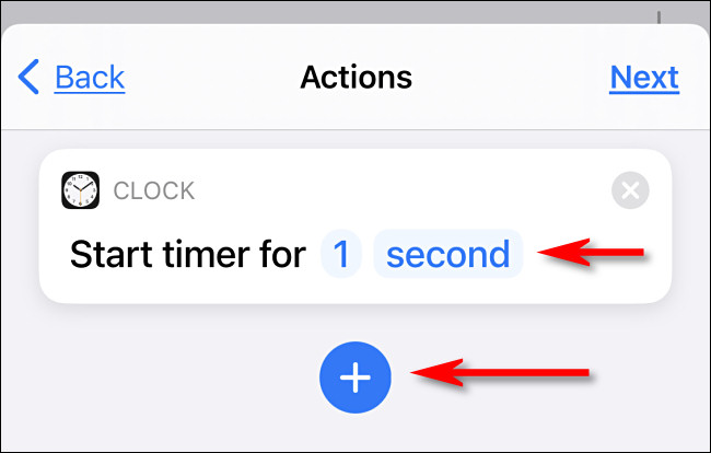 """Set the timer to """"1 second"""" then tap the plus button."""
