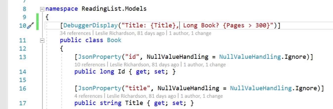 Ejemplo de atributo DebuggerDisplay que contiene una expresión