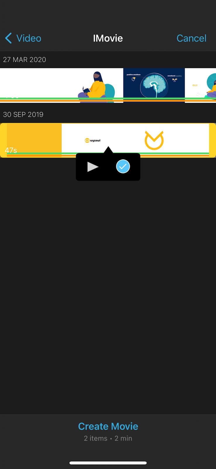 iMovie on iPhone