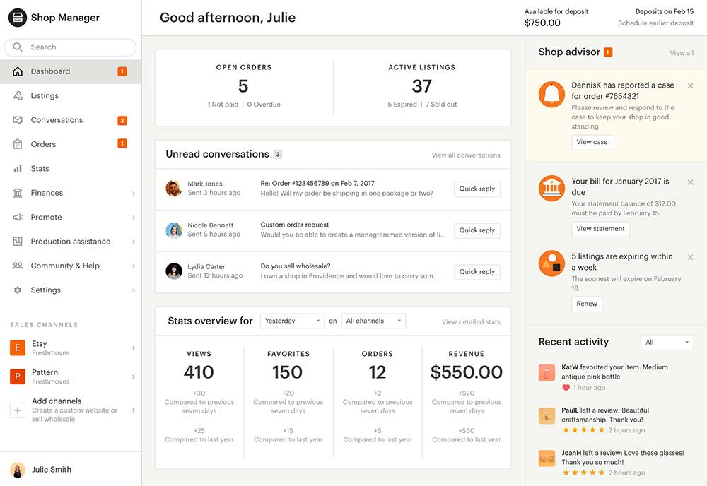 Etsy dashboard screenshot