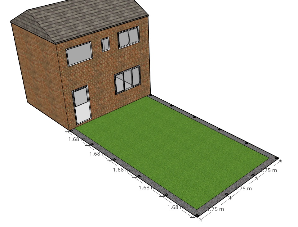 Basic garden model where we will build a slatted fence through the rest of this article