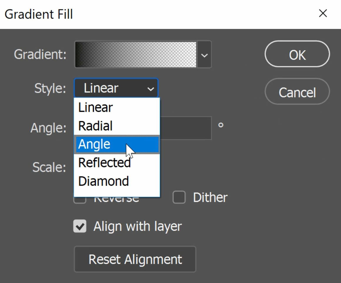 On the Gradient Fill window, set the Style to Angle.