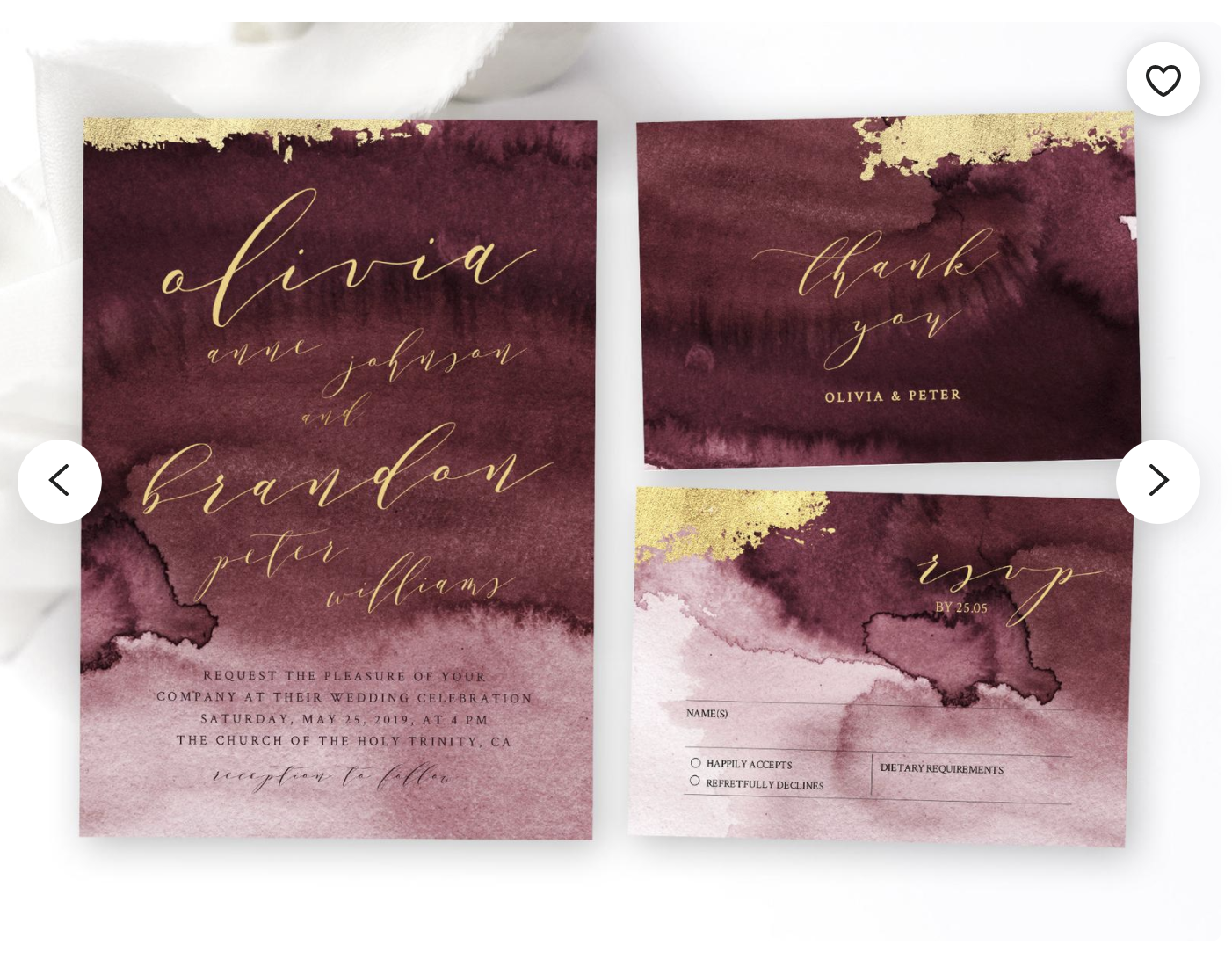 abstract watercolor modern wedding invitation