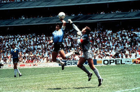 Maradona handling the ball in 1986 (What is Handball in Soccer?)