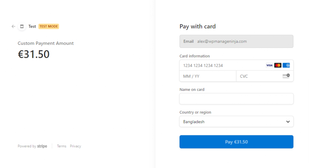 Fluent Forms redirected checkout page
