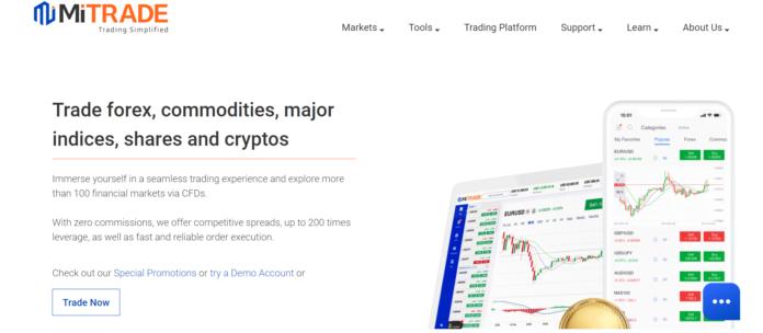 Tampilan website Mitrade untuk beli saham, kripto dan forex