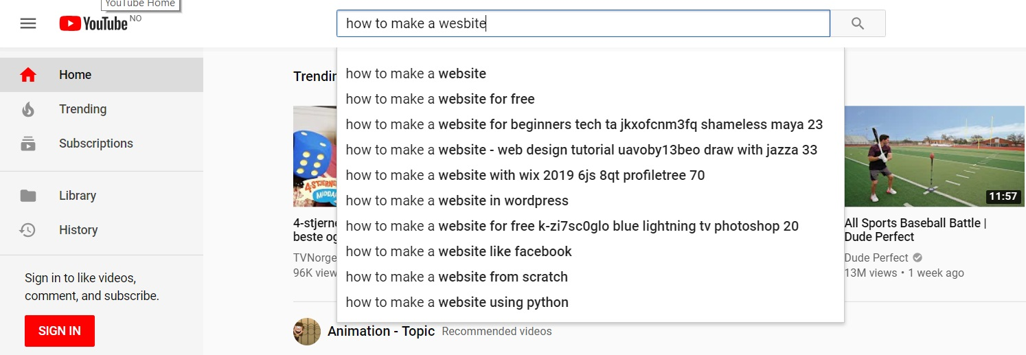 "Looking up ""How to make a website"" on Youtube."