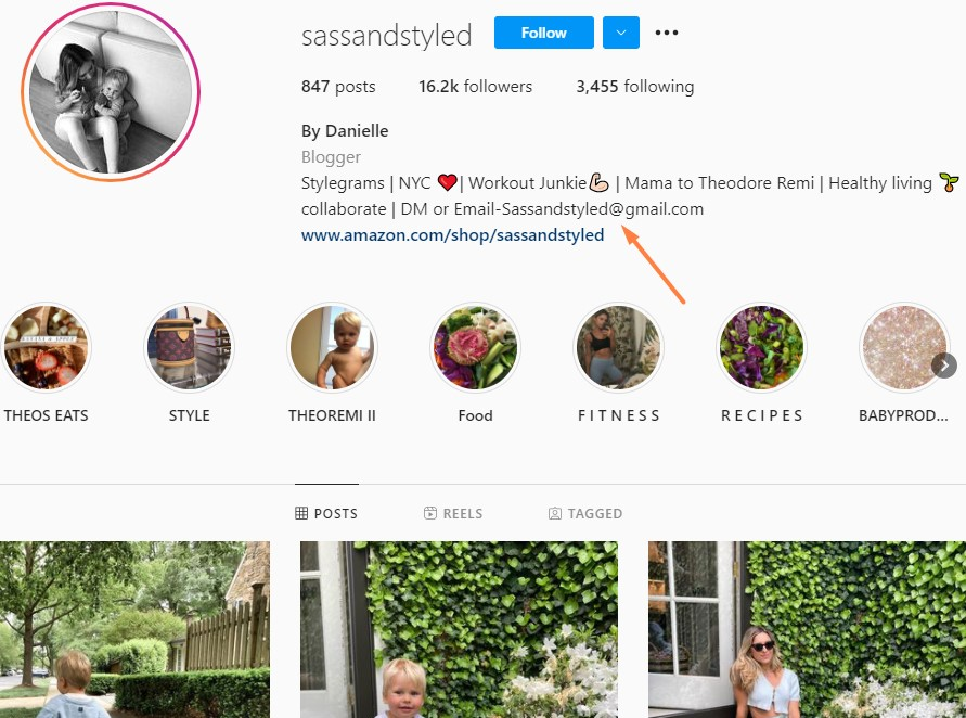 An example of where one can find contact email on an Instagram account.