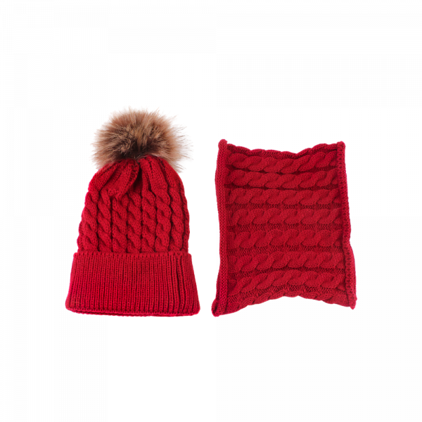 Baby Unisex Knitted Hat & Circle Scarf Set