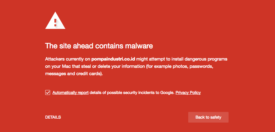 "Google warning message: ""The site ahead contains malware"""