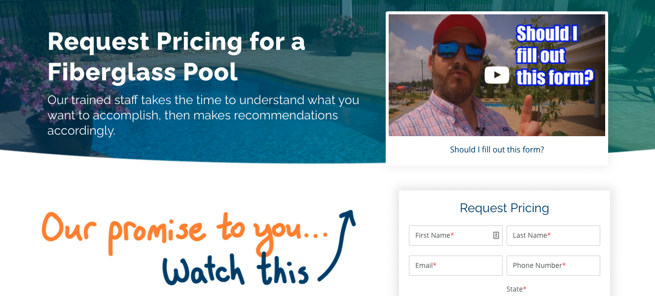 video landing page examples river pools and spas