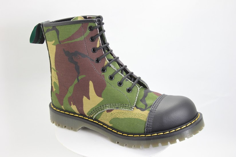 vegan camouflage boot made in the UK from backed-canvas sewn to a thick solovair sole