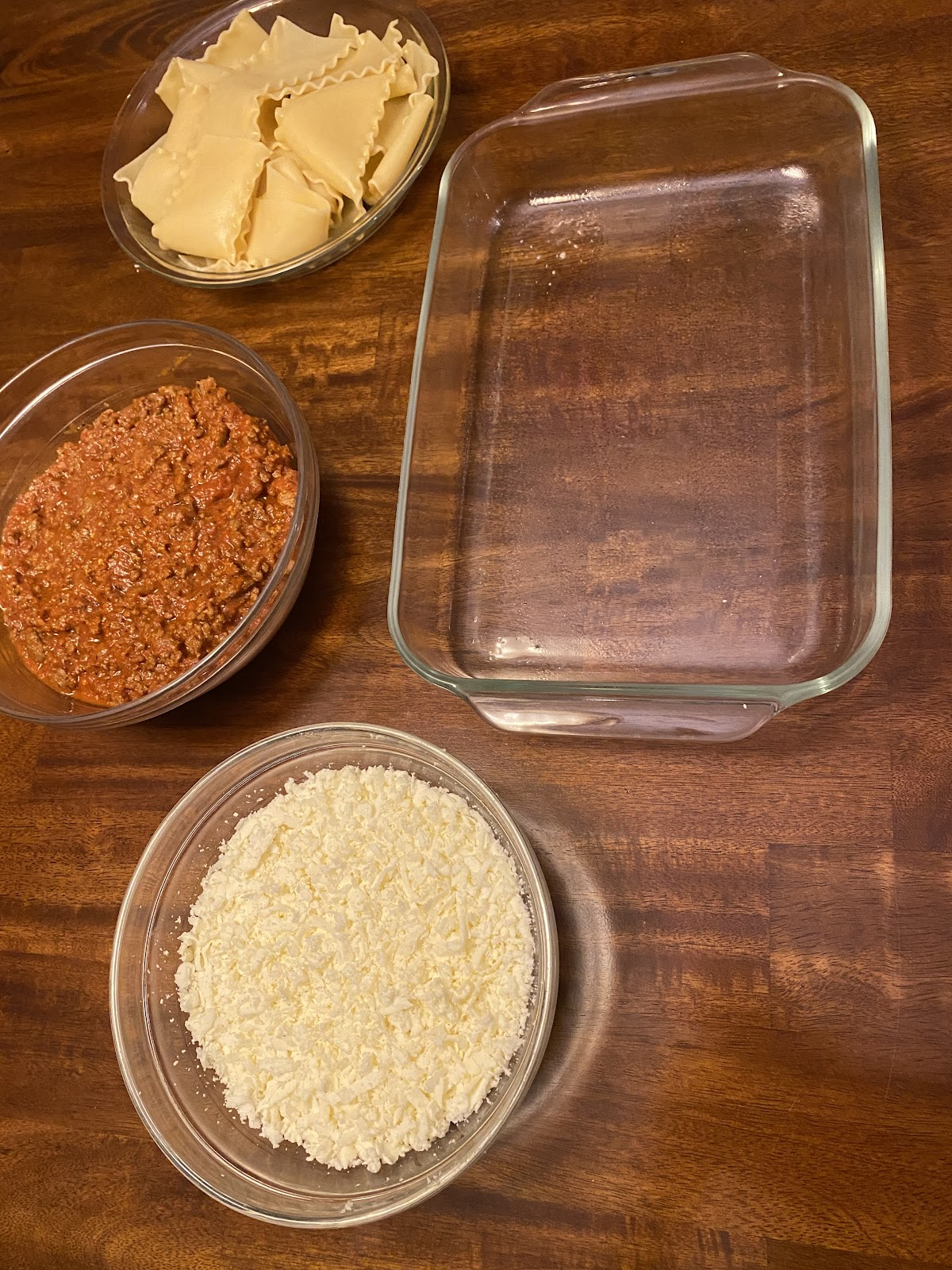 To assemble this no ricotta lasagna, I like to arrange all of my ingredients around my dish.