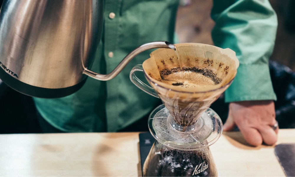 pouring coffee using a v60 drip filter