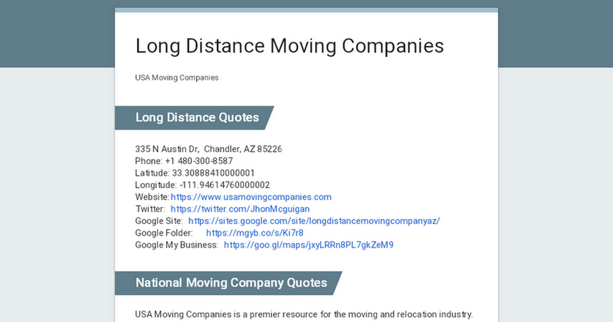 Moving Company Quotes >> Long Distance Moving Companies