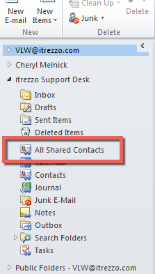 Create a shared contacts folder in a Shared Mailbox