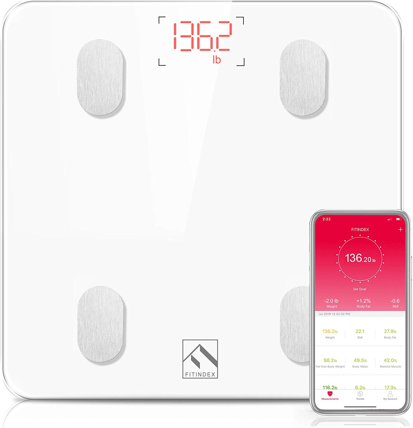 FITINDEX Bluetooth Body Fat Scale.