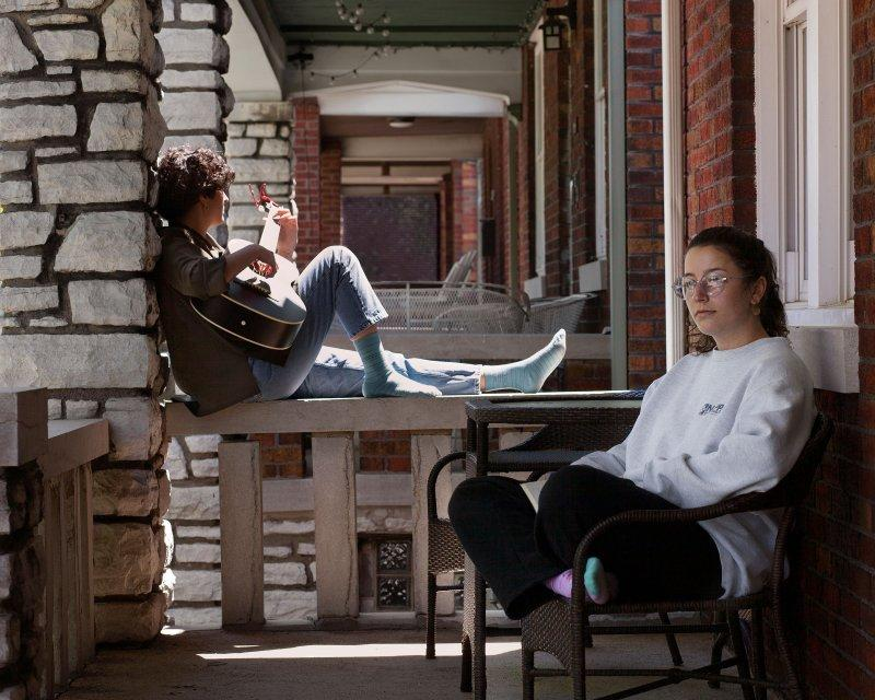 Sisters Camilla Nappa, Drexel University Class of 2020, and Sophia Nappa, NYU Class of 2022, isolating at their father's home in St. Louis