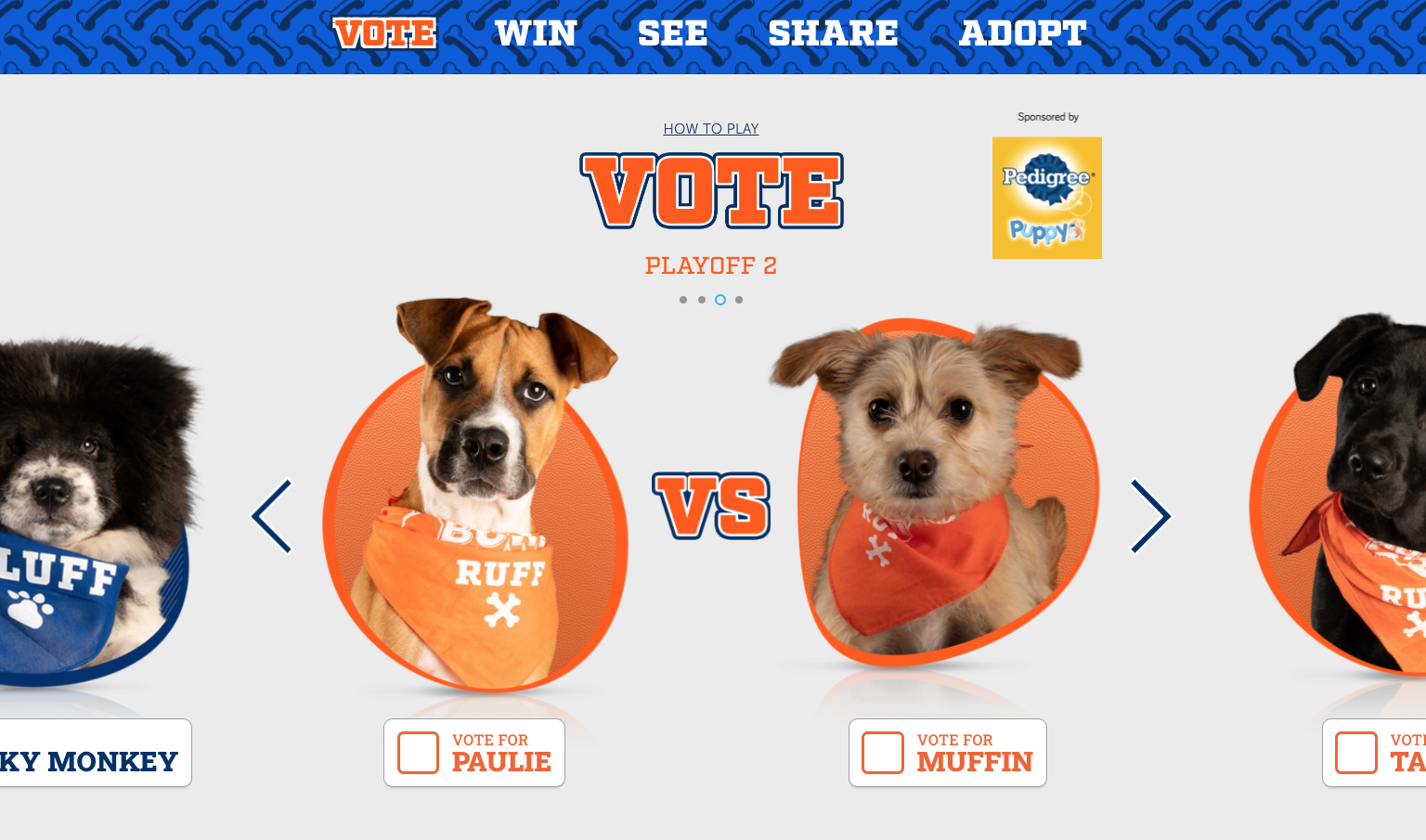 Animal Planet's Puppy Bowl Pupularity Contest tournament, powered by Tagboard Interactive