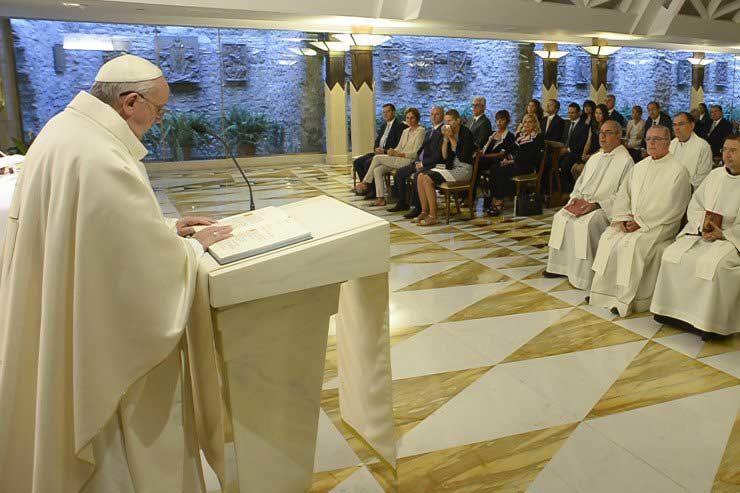 Pope Francis During Mass in Santa Marta