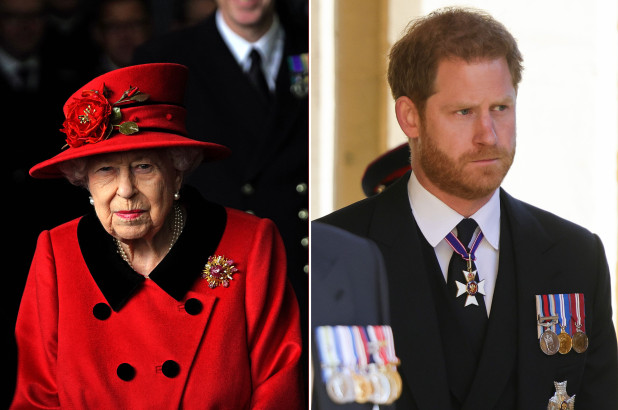 Queen Elizabeth in red on the left, Prince Harry in dress blues on the right