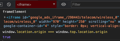 Screenshot of Chrome developer tools, showing an ad iframe that is not sandboxed