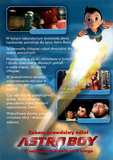 Tył ulotki filmu 'Astro Boy'