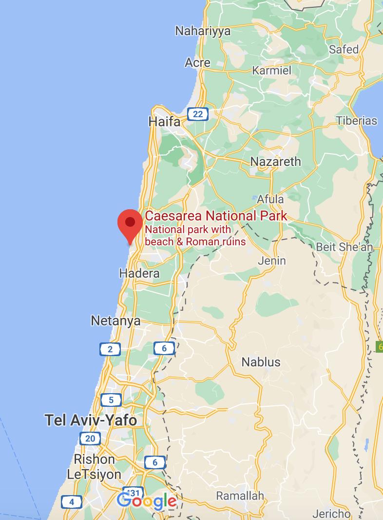 how to reach Caesarea National Park