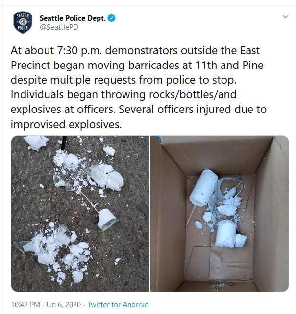 Tweet from Seattle police account